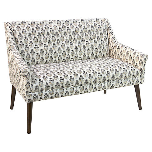 Bella Tufted Settee, Taupe Floral