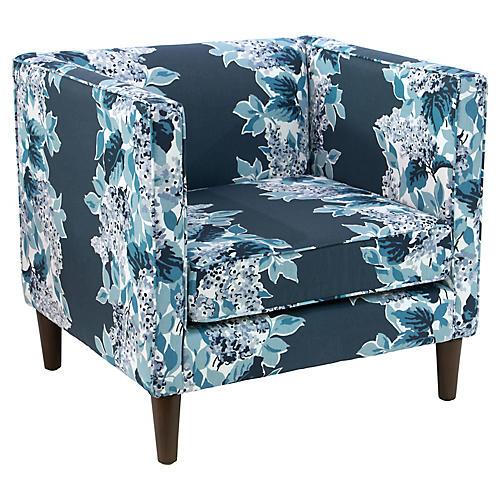 Huey Accent Chair, Indigo Floral
