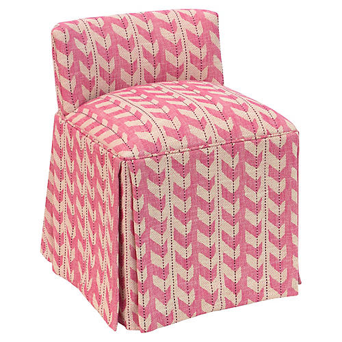 Eliza Skirted Vanity Stool, Pink Jetty Stripe