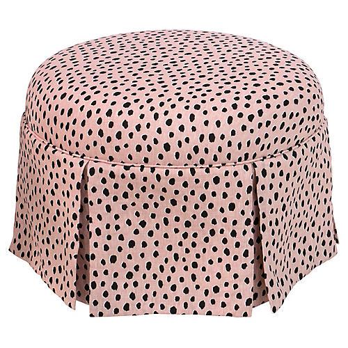 Liza Skirted Ottoman, Pink Polka Dots