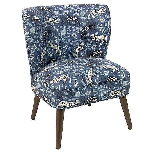 Bailey Accent Chair, Leopard Blue