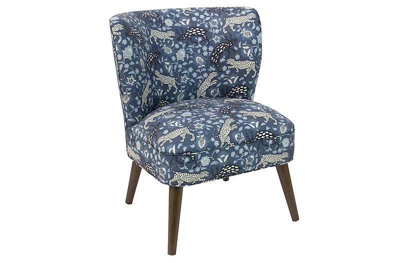 Bailey Accent Chair, Leopard Blue