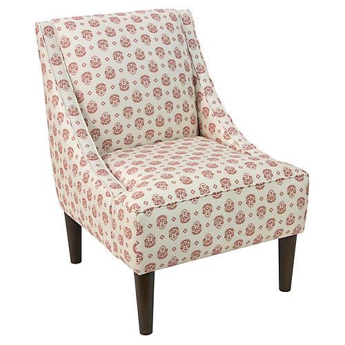 Quinn Swoop-Arm Accent Chair, Rose