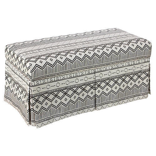 Hayworth Skirted Storage Bench, Kuba Ink