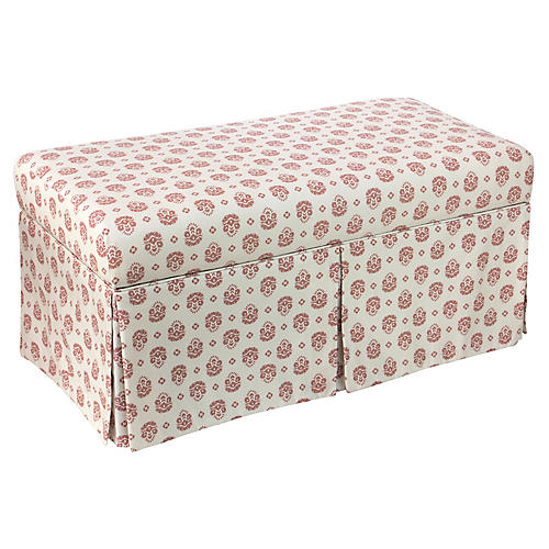 Anne Skirted Storage Bench, Red/Natural Linen