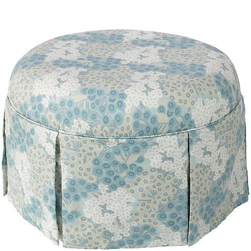 Liza Skirted Ottoman, Loiret Blue Linen