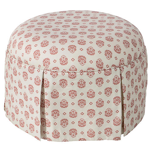 Liza Round Skirted Ottoman, Dusty Red