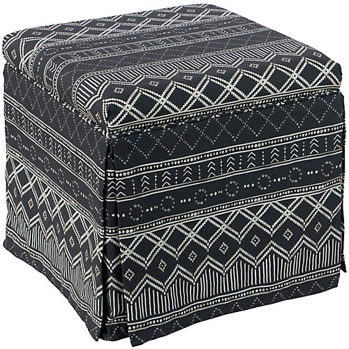 Anne Skirted Storage Ottoman, Kuba Black