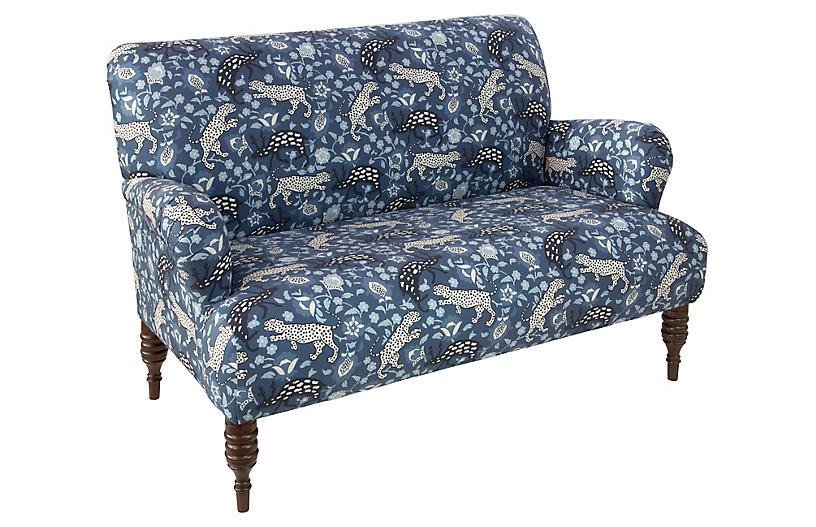 Nicolette Settee, Leopard Blue Linen