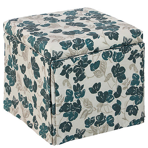 Anne Skirted Storage Ottoman, Bloom Turquoise