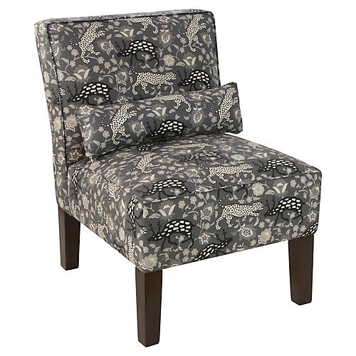 Bergman Armless Accent Chair, Charcoal