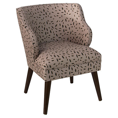 Kira Accent Chair, Taupe Dot
