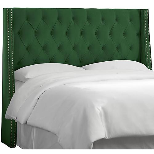 Sophia Wingback Headboard, Emerald Velvet