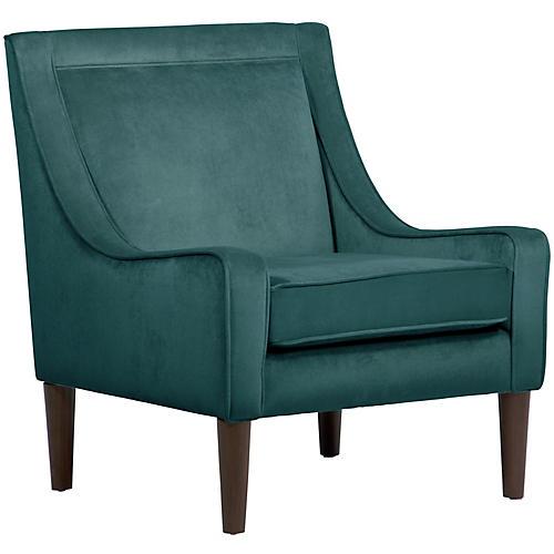 Scarlett Swoop-Arm Chair, Peacock Velvet