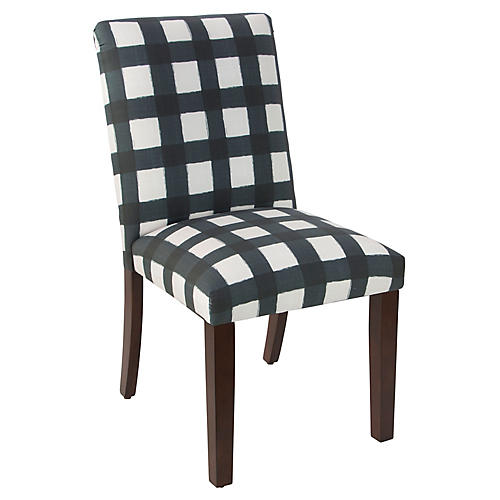 Shannon Side Chair, Turquoise Gingham