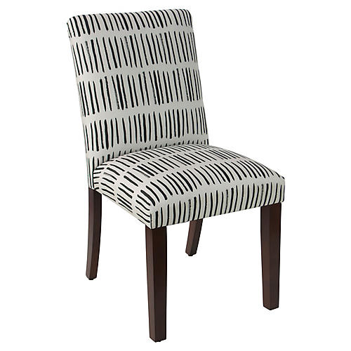 Shannon Side Chair, Dash Black/White Linen