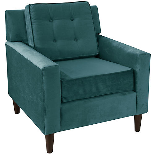 Winston Club Chair, Peacock Velvet