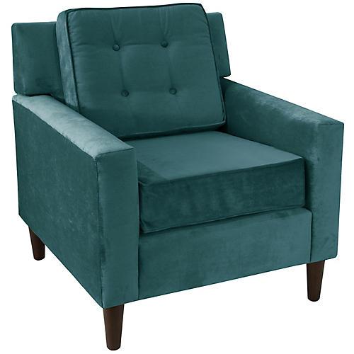 Winston Club Chair, Peacock Velvet