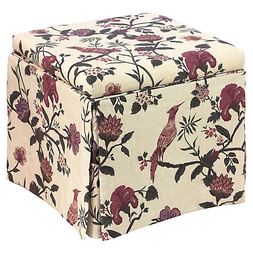 Anne Skirted Storage Ottoman, Shaana Red