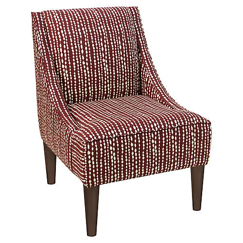 Quinn Swoop-Arm Accent Chair, Red Line-Dot