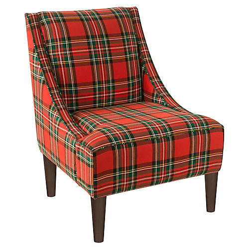 Quinn Swoop-Arm Accent Chair, Red Tartan