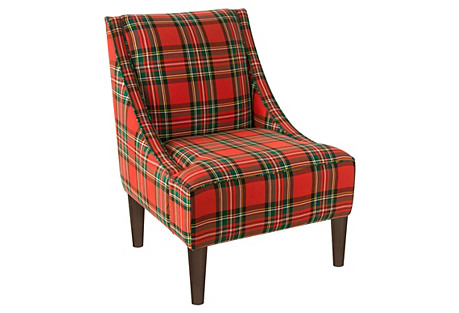 Quinn Swoop-Arm Chair, Stewart Red