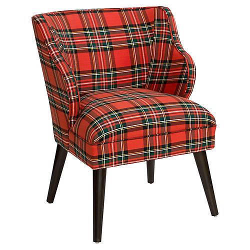 Kira Accent Chair, Red Tartan