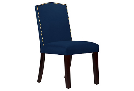 Marie Arched Side Chair, Velvet Navy