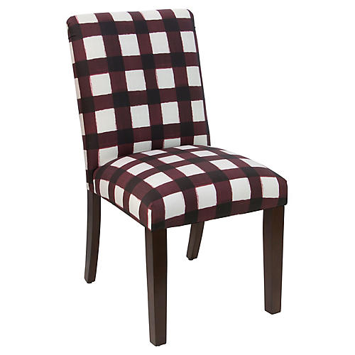 Shannon Side Chair, Red Gingham Linen