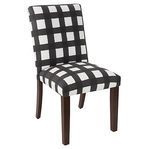 Shannon Side Chair, Black Gingham Linen