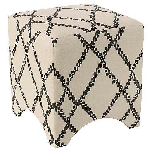 Ellery Cube Ottoman, Black/Flax
