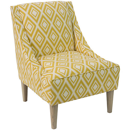 Quinn Swoop-Arm Chair, Diamond Ikat