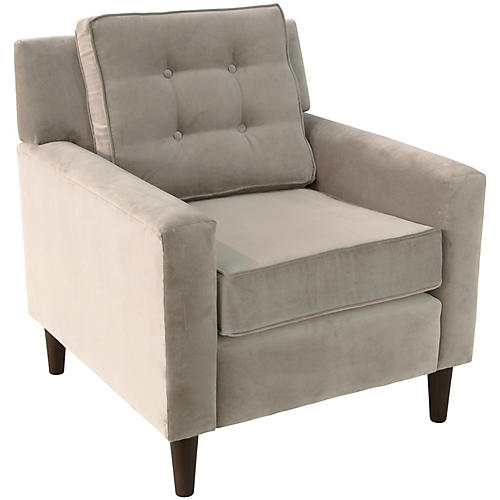 Winston Club Chair, Light Gray Velvet