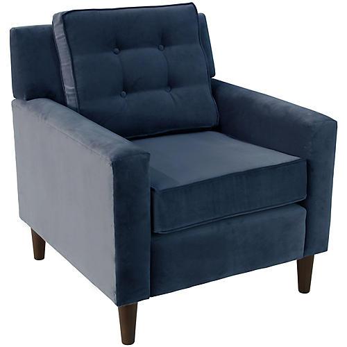 Winston Club Chair, Navy Velvet