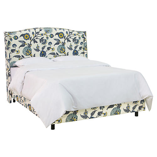 Cole Wingback Bed, Peacock