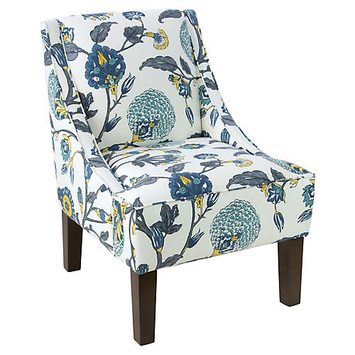 Fletcher Swoop-Arm Chair, Painted Floral