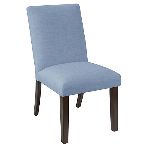 Erin Pleated Side Chair, French Blue Linen
