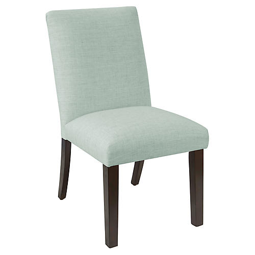 Erin Pleated Side Chair, Mint Linen