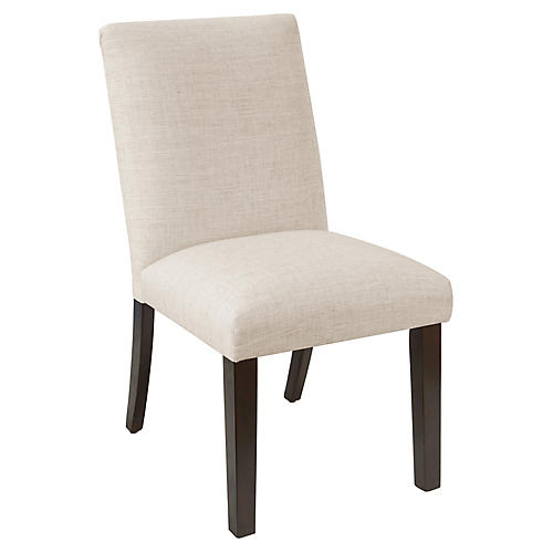 Erin Pleated Side Chair, Talc Linen