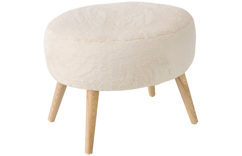 Dottie Stool, Ivory Fleece