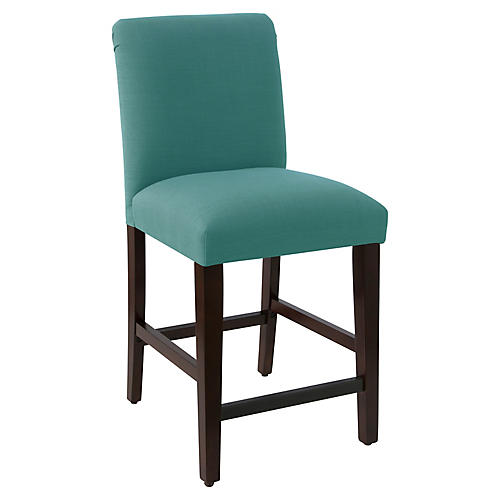 Erin Pleated Counter Stool, Teal Linen