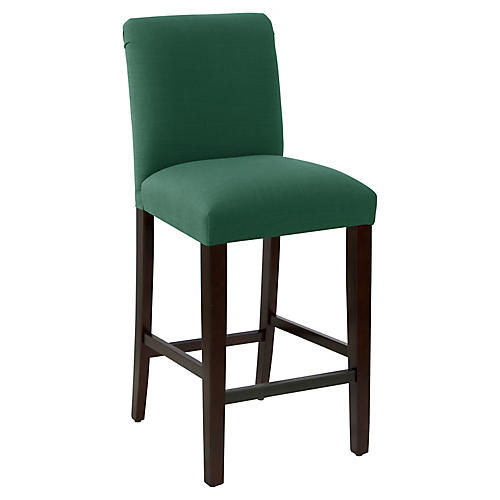 Erin Pleated Barstool, Forest Linen