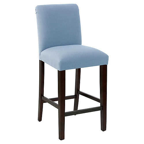 Erin Pleated Barstool, French Blue Linen