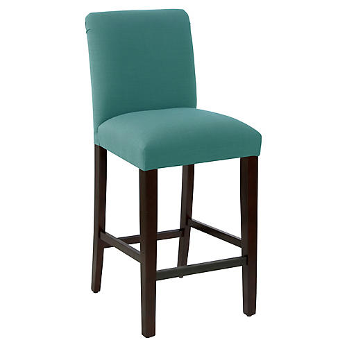 Erin Pleated Barstool, Teal Linen