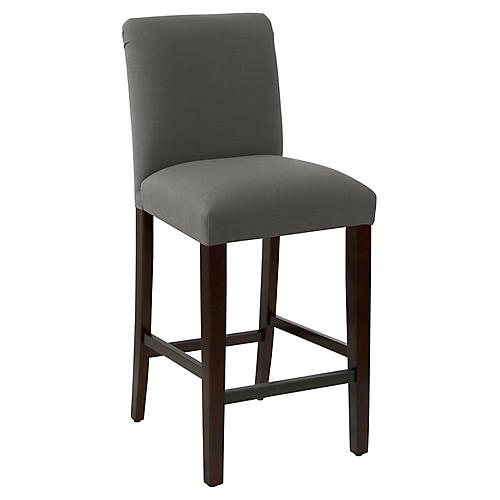 Erin Pleated Barstool, Charcoal Linen