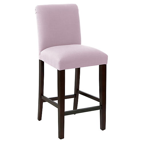 Erin Pleated Barstool, Lilac Linen