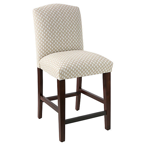 Marie Arched Counter Stool, Flax Dot