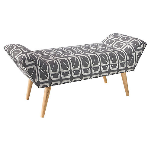 "Leo 51"" Bench, Hunter Lattice Charcoal"