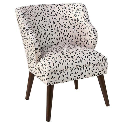 Kira Accent Chair, Cream Dot