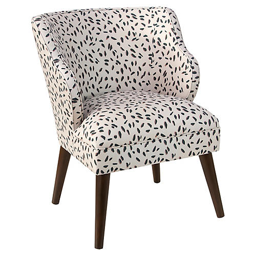 Kira Accent Chair, Cream Dot